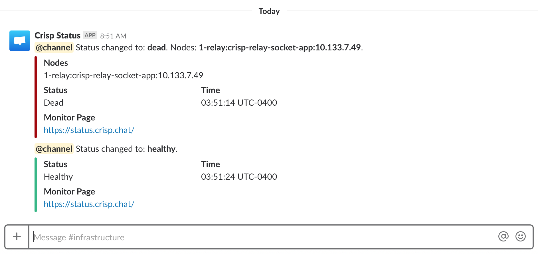 This is what a Slack alert from Vigil looks like